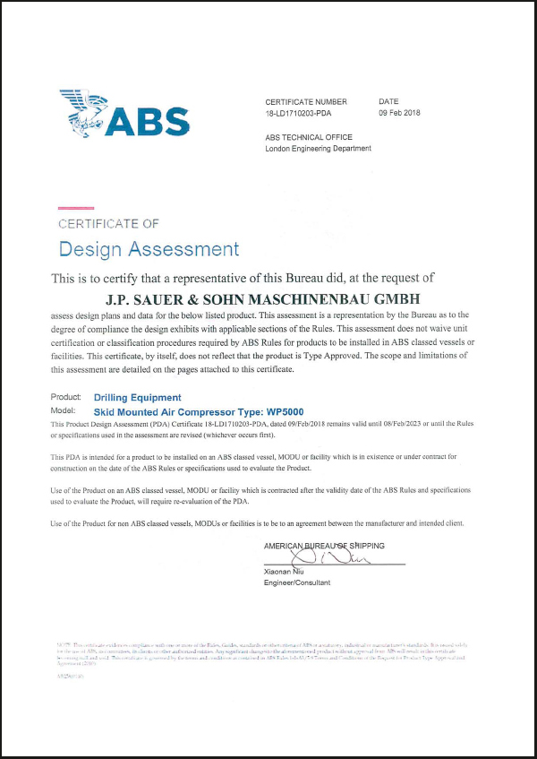 foto certificate abs drilling equipment en sauer compressors